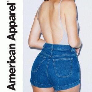 American Apparel Denim High Waisted Cuff Shorts 30